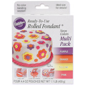 Ready-To-Use Rolled Fondant 4.4 Ounces 4/Pkg-Neon Wholesale Bulk