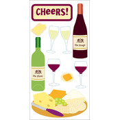 "Dimensional Stickers 2.75""x6.75""-Wine & Cheese"