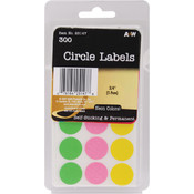 A & W Office Supplies Labels-Neon Circles .75' 300/Pkg Wholesale Bulk