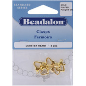 Lobster Heart Clasp 5/Pkg-Gold Plated
