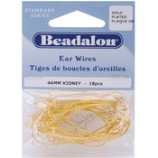 Kidney Ear Wires 44mm 18/Pkg-Gold Plated