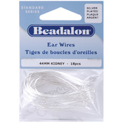 Kidney Ear Wires 44mm 18/Pkg-Silver Plated