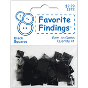 Favorite Findings Sew-On Square Gems-Black 41/Pkg