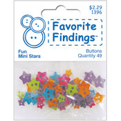 Favorite Findings Mini Shaped Buttons-Fun Stars 49