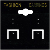 Earring Cards 2'X2' 100/Pkg-PVC/Black Velvet Wholesale Bulk