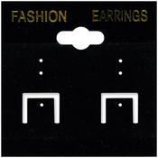 Earring Cards 2'X2' 100/Pkg-PVC/Black Velvet Wholesale Bulk