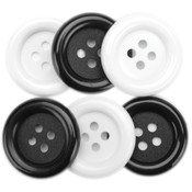 Favorite Findings Big Basic Buttons 6/Pkg-Black &