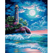 Paint By Number Kit 16&quot;X20&quot;-Lighthouse In The Moon