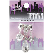 Jesse James Uptown Metal Charms 3/Pkg-Style #12 W/Rhinestones Wholesale Bulk