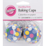 Baking Cups-Dazzling Dots 75/Pkg - Mini