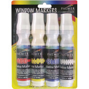 Window Markers 4/Pkg-Red/Yellow/Blue/White