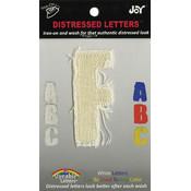 Joy S.A., Inc. Iron-On White Distressed Letter 2.5'-F Wholesale Bulk