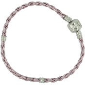Uptown Collection Leather Bracelet 1/Pkg-Pink 7.5""