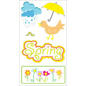 Autumn Leaves 3-D Stickers-Spring 6pc w/UV Coating Wholesale Bulk