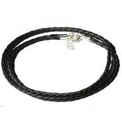 "Black Braided Leather 24"" 3M Necklace w/Extender"