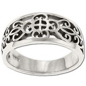 Sterling Silver Filigree Moorish Design Ring-Size 8