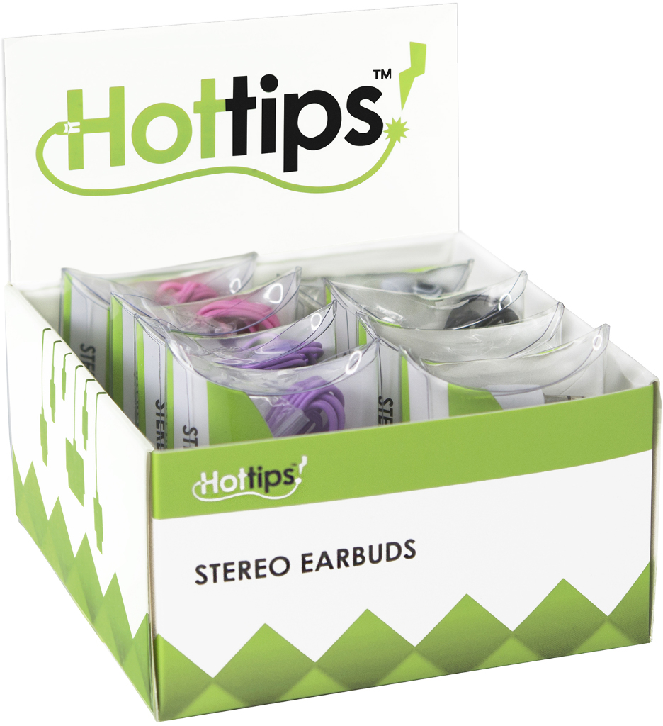 Hottips Tray Pack Stereo Ear Bud Assorted 8-count [1876734]