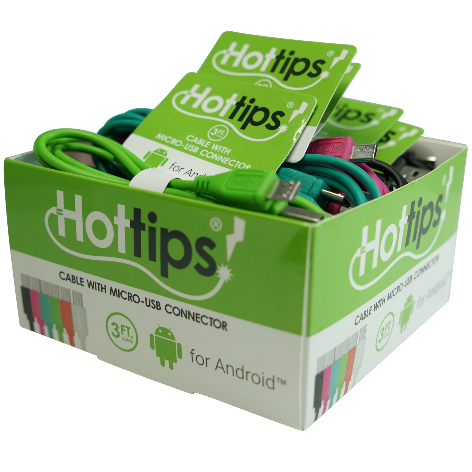 Hottips Tray Pack Micro USB Cable Assorted- 24-count [1876730]