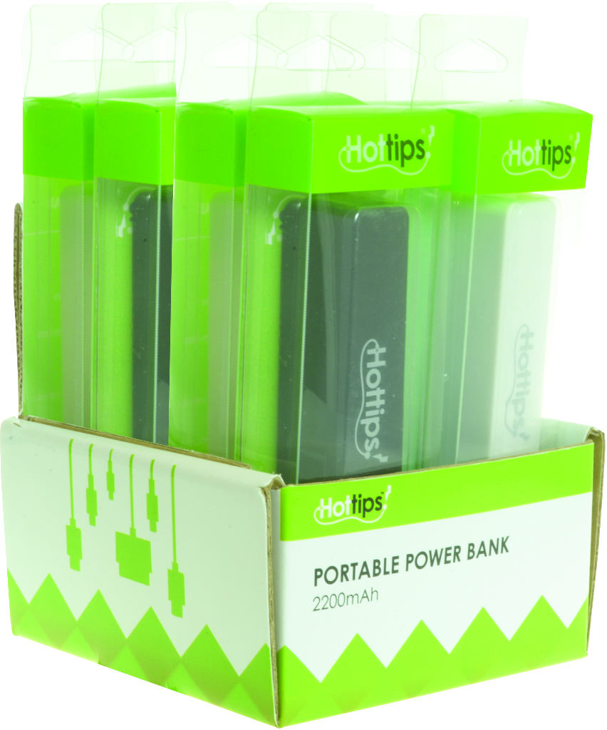 Hottips Tray Pack Portable Power Bank- 8-count 2200 mAh [1876738]