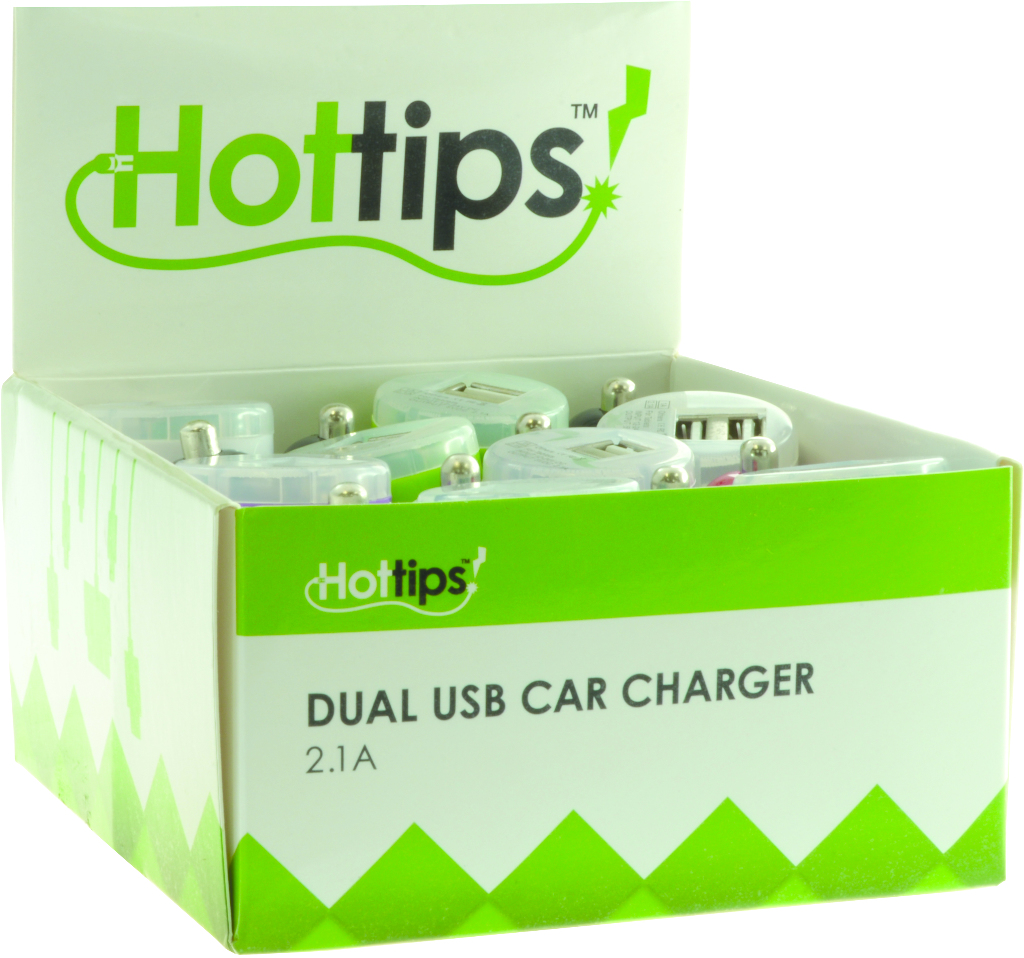 Hottips Tray Pack 2.1A Dual USB Car Charger- 16-count [1876766]