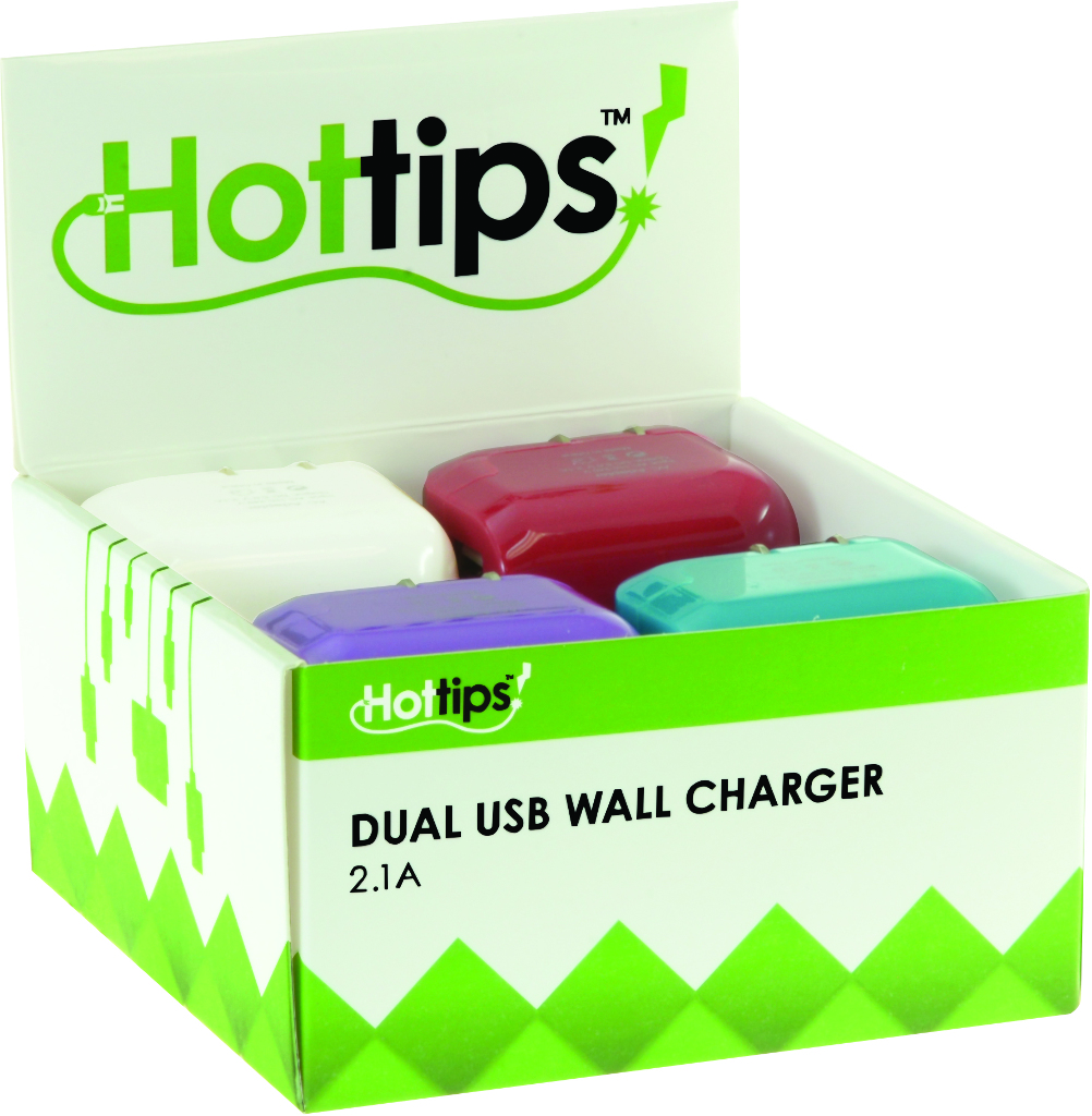 Hottips Tray Pack 2.1A Dual USB Wall Charger- 10-count [1876768]