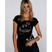 White Lady Biker Large Black Short Sleeve T-Shirt