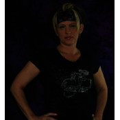 Rhinestone Lady Biker Large Black Burnout T-Shirt