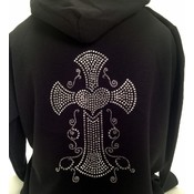 Open Road Rhinestone Cross Sweatshirt, Large Wholesale Bulk