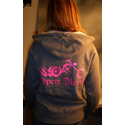 Open Road Zip-Up Grey/Pink Hoodies, X-Large