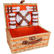 Willow Picnic Basket for 4- Orange- 21 Pieces