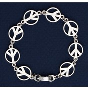 Peace Antique Silver Plated Bracelet