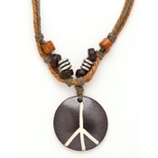 Leather Cord Peace Necklace