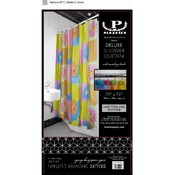 Deluxe Shower Curtain with Matching Hooks-Bright S