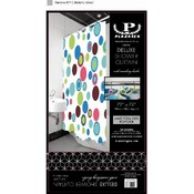 Deluxe Shower Curtain with Matching Hooks-Rainbow Circles