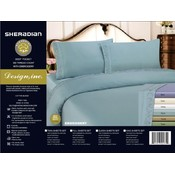 300 TC Embroidered Queen Sheet Set - Aqua