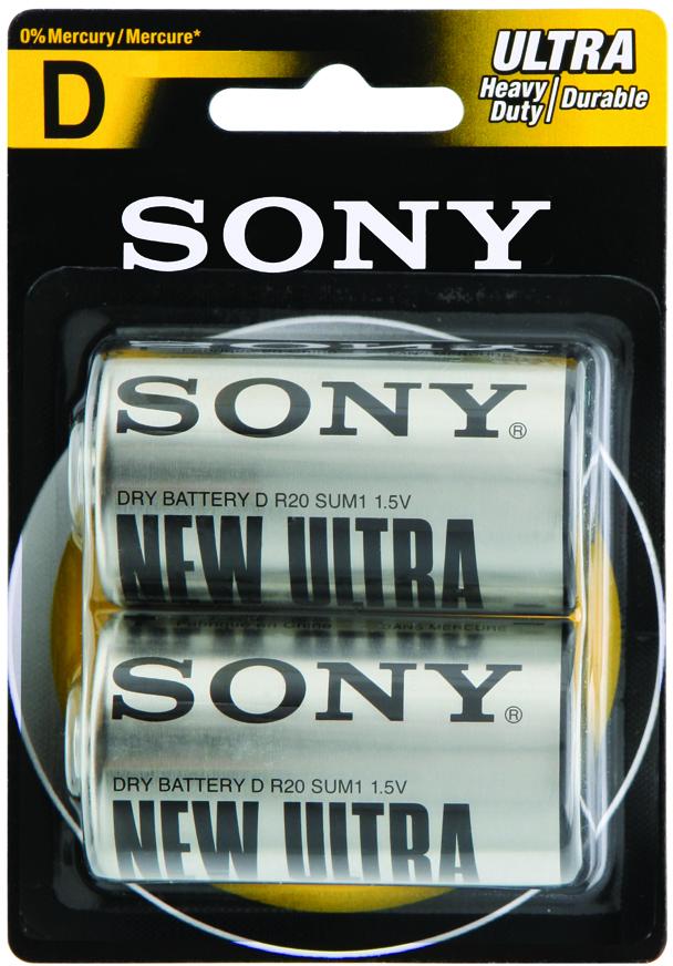 Sony Heavy Duty/Carbon Zinc D (2 Pack) Batteries (1866319)