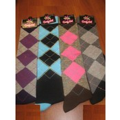 Ladies Argyle Knee Hi Socks