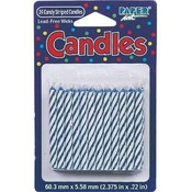 Birthday Candle Blue Strp 24Ct