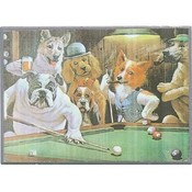 Dog Playing Pool Plaque Asst