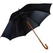 "RainWorthy 48"" Black Luxury Wood Umbrella"