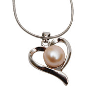 Bret Roberts Pink Freshwater Pearl Heart Necklace Wholesale Bulk