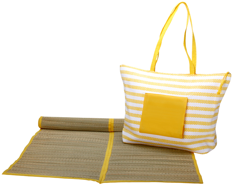 Worthy BEACH Tote BAG with Mat - Yellow [1273021]