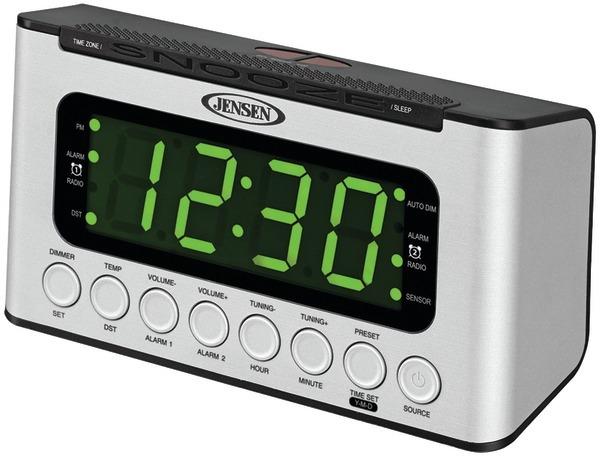 wholesale jensen jcr 231 digital am fm dual alarm clock radio with wave sensor sku 2174815. Black Bedroom Furniture Sets. Home Design Ideas