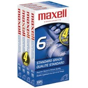 Maxell - Standard-Quality VHS Video Tapes (6 hours, 4 pack) Wholesale Bulk