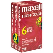 Maxell 3Pk T120 Hi-Grade VHS Tape Wholesale Bulk