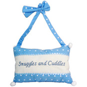 Snuggles & Cuddles Hanging Decorative Blue Pillow