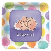 Paper Art Baby Me 18 Count 9' Square Dinner Plates Wholesale Bulk