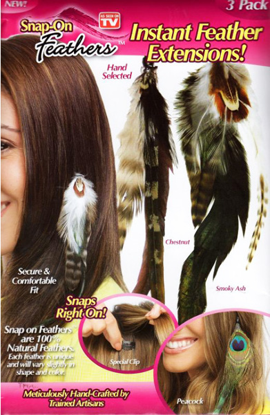 As Seen On TV 3 Pack Snap-On Feathers Extensions (1261533)