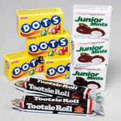 Mini Box Treats Display: Jr Mints, Dots and Tootsie Roll Wholesale Bulk
