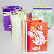 Large Flocked Floral Gift Bag Wholesale Bulk